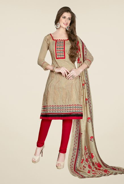 Salwar Studio Beige & Red Embroidered Dress Material