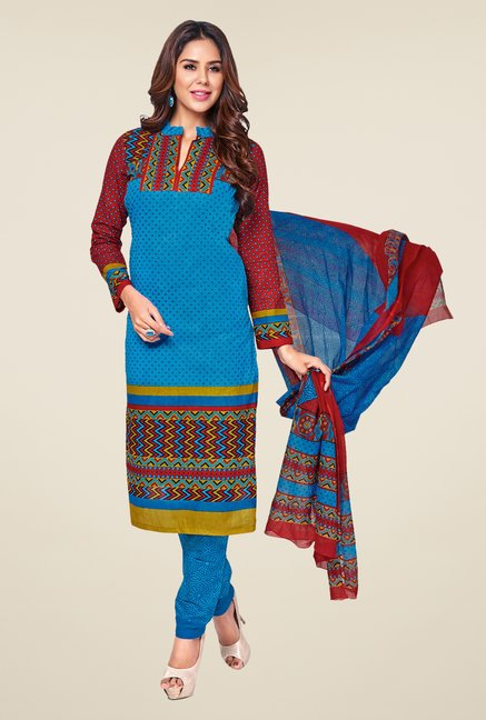 Salwar Studio Blue & Maroon Printed Dress Material