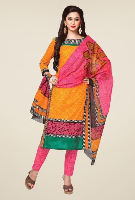 Salwar Studio Orange & Pink Printed Dress Material