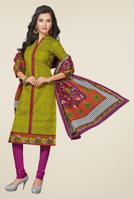 Salwar Studio Mehndi & Magenta Printed Dress Material