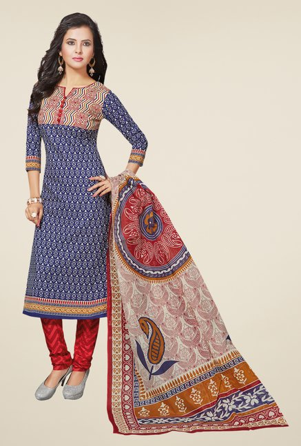 Salwar Studio Blue & Red Printed Dress Material