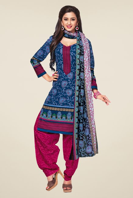 Salwar Studio Blue & Magenta Printed Dress Material