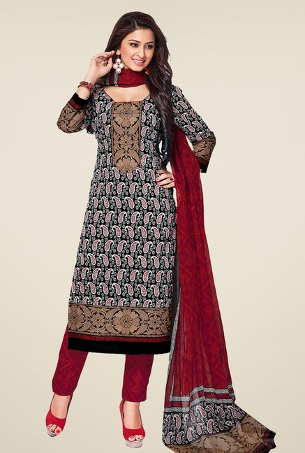 Salwar Studio Black & Maroon Printed Dress Material