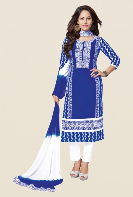 Salwar Studio Blue & White Free Size Dress Material
