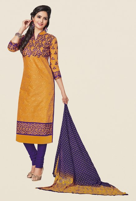 Salwar Studio Mustard & Violet Embroidered Dress Material