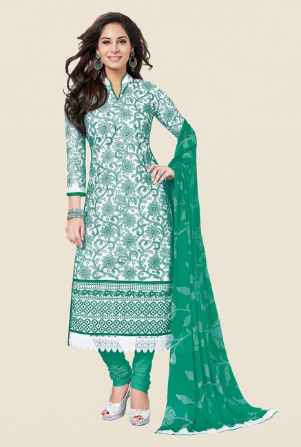 Salwar Studio Green & White Embroidered Dress Material