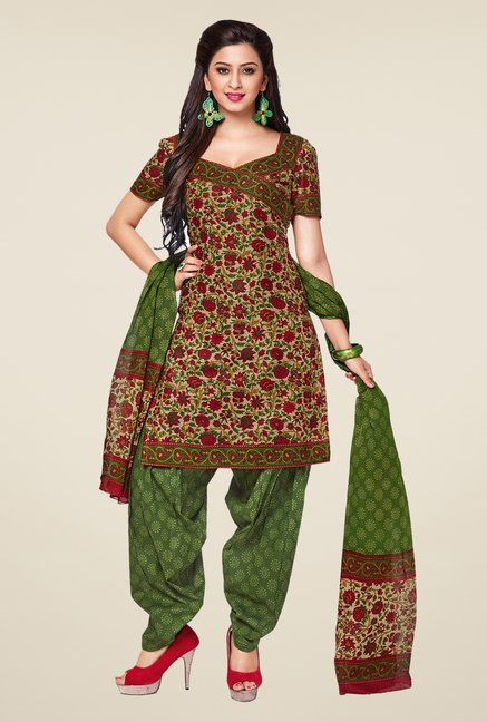 Salwar Studio Red & Mehndi Printed Dress Material