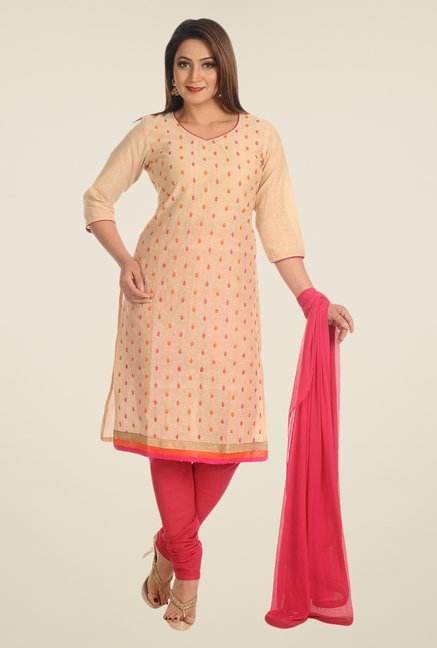 Salwar Studio Beige & Pink Embroidered Dress Material