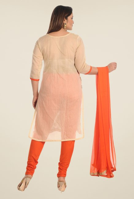 Salwar Studio Beige & Orange Cotton Dress Material