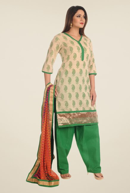 Salwar Studio Beige & Green Printed Dress Material