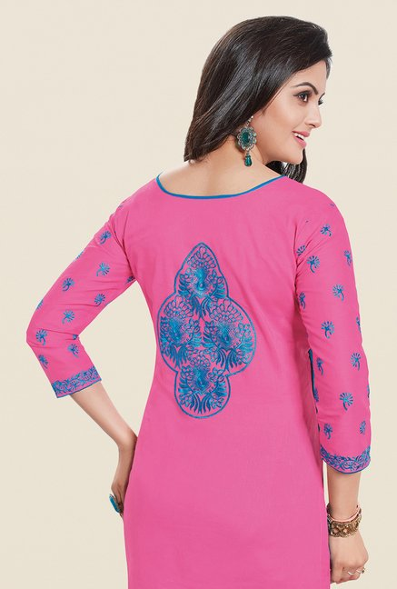Salwar Studio Pink & Blue Embroidered Dress Material
