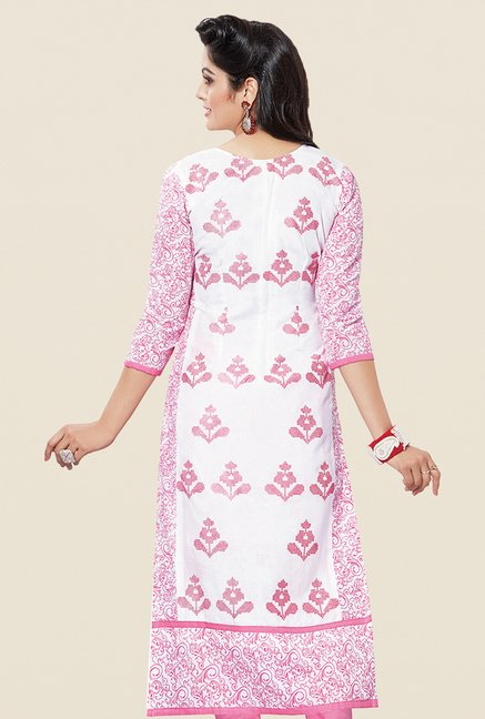 Salwar Studio White & Light Pink Embroidered Dress Material