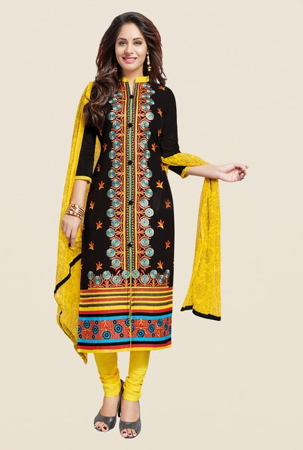 Salwar Studio Black & Yellow Embroidered Dress Material