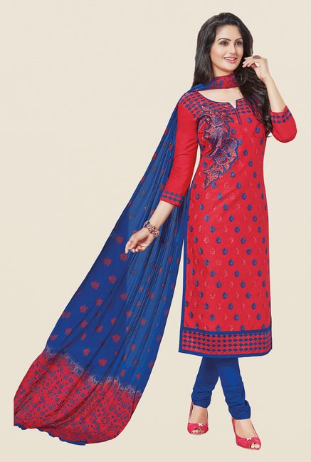 Salwar Studio Red & Blue Embroidered Dress Material