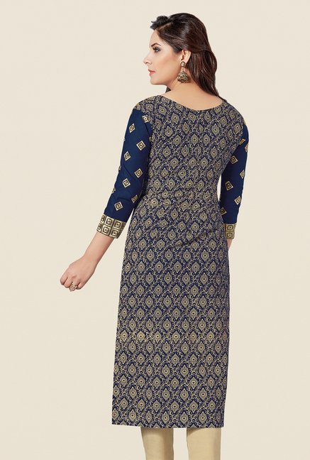 Salwar Studio Navy & Fawn Embroidered Dress Material