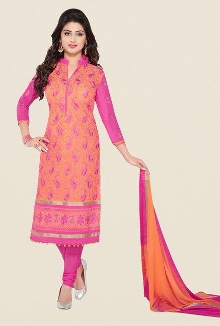 Salwar Studio Orange & Pink Embroidered Dress Material