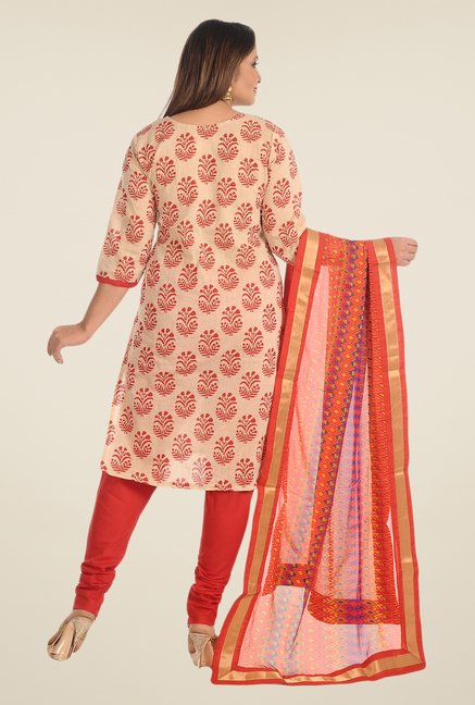 Salwar Studio Beige & Red Cotton Dress Material