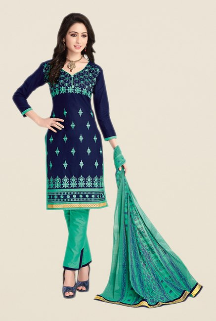 Salwar Studio Dark Blue & Green Embroidered Dress Material