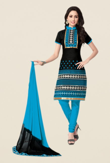 Salwar Studio Black & Blue Embroidered Dress Material