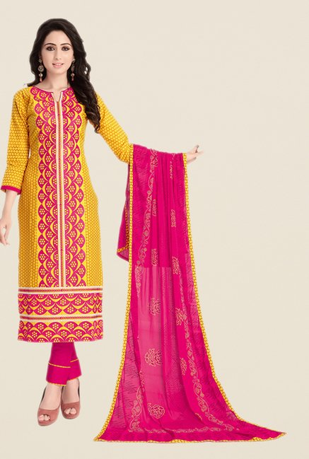 Salwar Studio Yellow & Pink Embroidered Dress Material