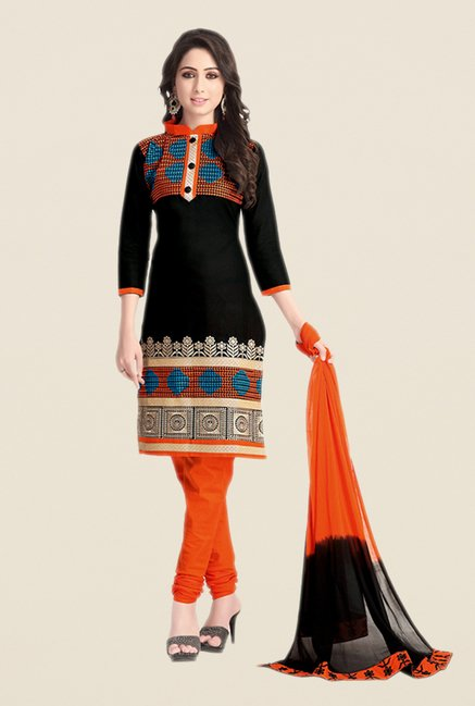Salwar Studio Black & Orange Embroidered Dress Material