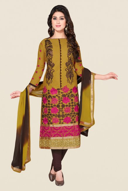 Salwar Studio Olive & Brown Embroidered Dress Material