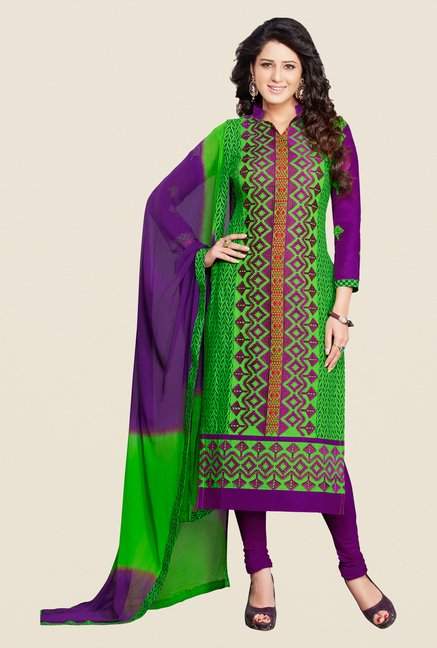 Salwar Studio Green & Violet Embroidered Dress Material