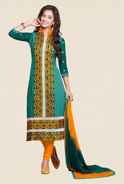 Salwar Studio Green & Yellow Embroidered Dress Material