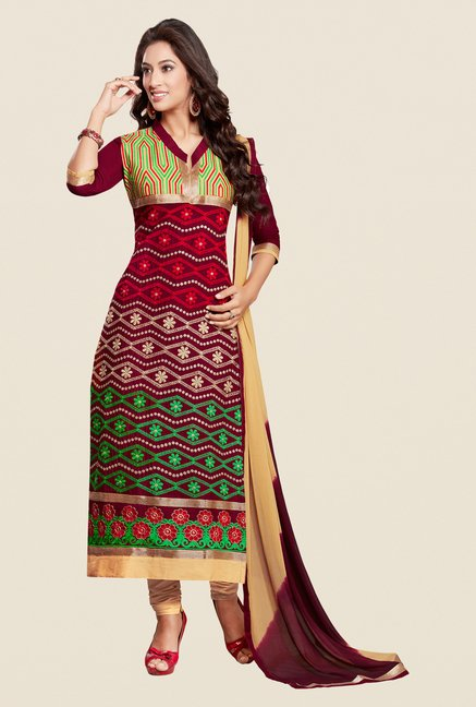 Salwar Studio Maroon & Beige Regular Wash Dress Material
