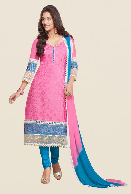 Salwar Studio Pink & Sky Blue Embroidered Dress Material