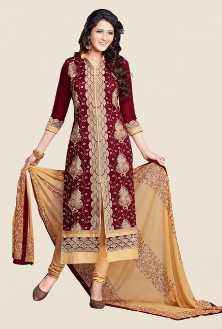 Salwar Studio Maroon & Beige Dress Material