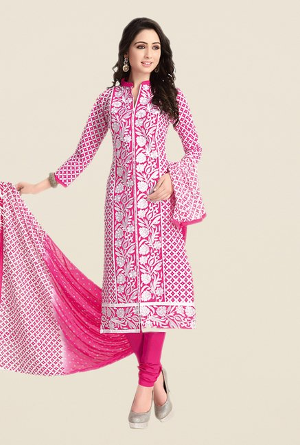 Salwar Studio Pink & White Embroidered Dress Material