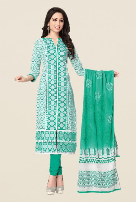 Salwar Studio Sea Green & White Embroidered Dress Material