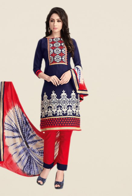 Salwar Studio Navy & Red Embroidered Dress Material
