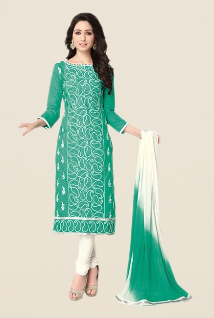 Salwar Studio Sea Green & Off White Dress Material