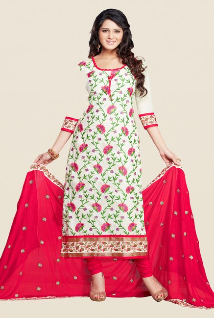 Salwar Studio White & Pink Cotton Dress Material