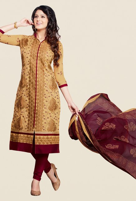 Salwar Studio Beige & Maroon Embroidered Dress Material