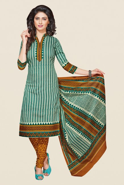 Salwar Studio Green & Mustard Printed Cotton Dress Material