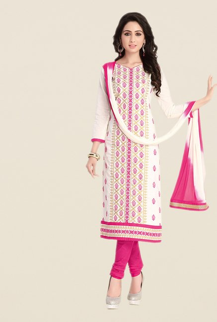Salwar Studio White & Pink Regular Wash Dress Material