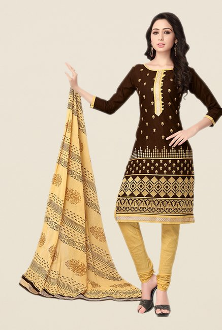 Salwar Studio Brown & Beige Cotton Dress Material