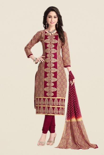 Salwar Studio Wine & Beige Embroidered Dress Material