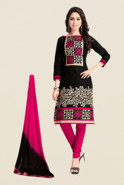 Salwar Studio Black & Pink Regular Wash Dress Material