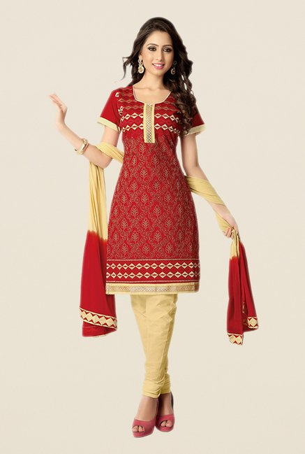 Salwar Studio Red & Fawn Embroidered Dress Material