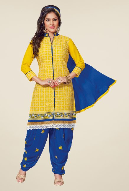 Salwar Studio Yellow & Blue Patiyala Dress Material