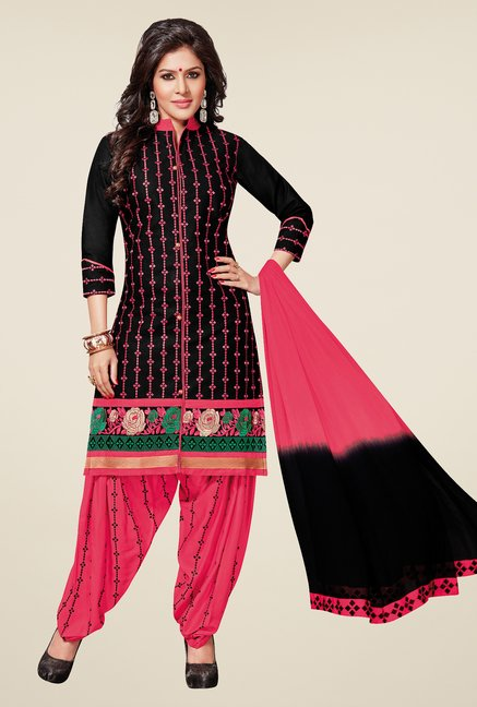 Salwar Studio Black & Pink Patiyala Dress Material