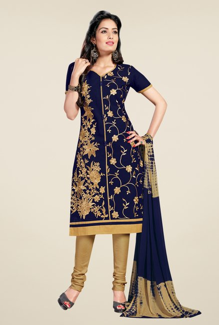 Salwar Studio Navy & Gold Lawn Embroidered Dress Material