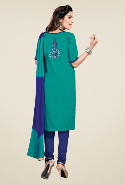 Salwar Studio Rama Green & Blue Lawn Dress Material