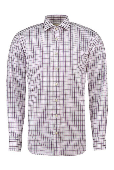 Hawes & Curties White & Purple St James Windsor Checks Shirt