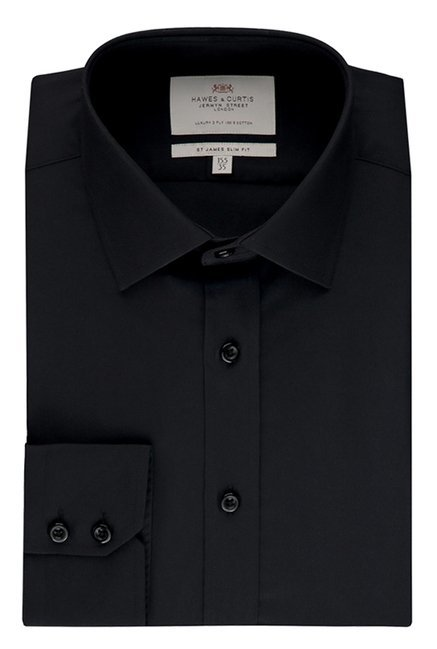 Hawes & Curties Black St James SC Poplin Shirt