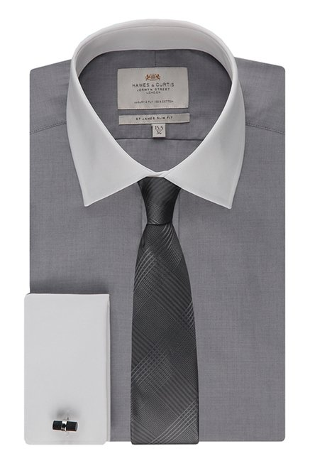 Hawes & Curties Grey St James DC Plain Shirt